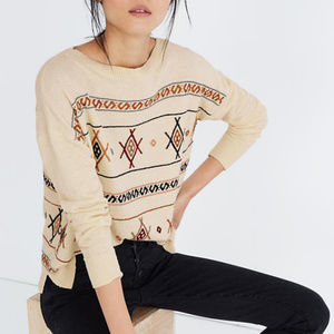 Madewell Embroidered Reseda Pullover Sweater XS  -